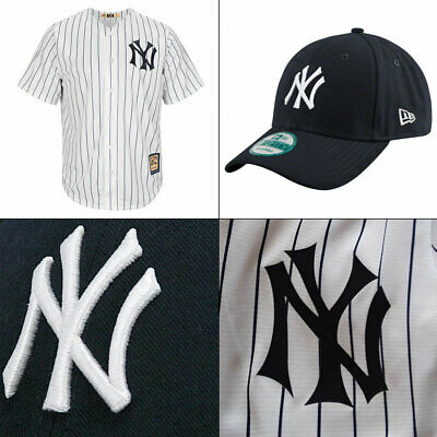 Men's New York Yankees MLB Pinstripe Cooperstown Cool Base Jersey + 9FORTY Cap