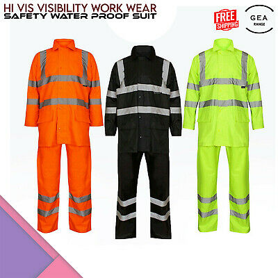 Hi Vis Viz Visibility Work Wear Safety Water Proof Suit Rain Wear Jacket Trouser