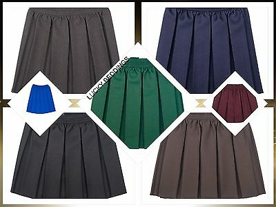 Girls School Uniform Box Pleated Elasticated waist school kids Skirt All Ages