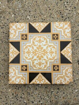 Beautiful Victorian Encaustic Pattern Tile, by Campbell Brick & Tile, C 1890