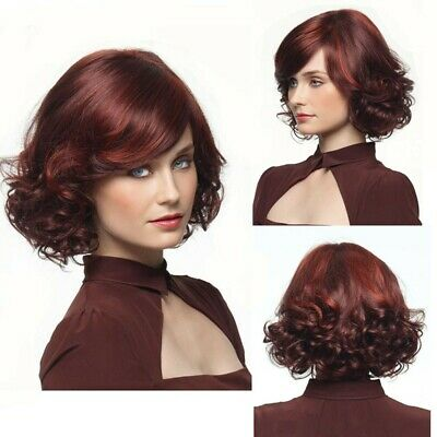 Fashion Womens Ladies Bob Wavy Hair Wigs Natural Red Gradation Short Curly Wig