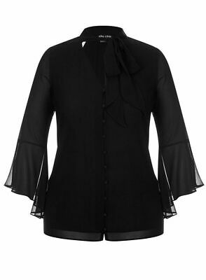 SIZES 14 RRP $69 16 and 18 Ex EVANS City Chic Black Lace Shirt