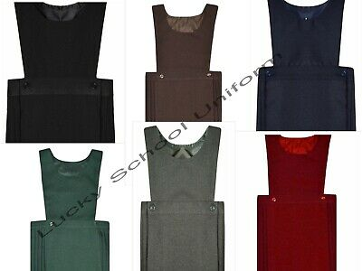 GIRLS PLAIN BIB PINAFORE PLEATED DRESS SCHOOL UNIFORM DRESS  2-18 Years