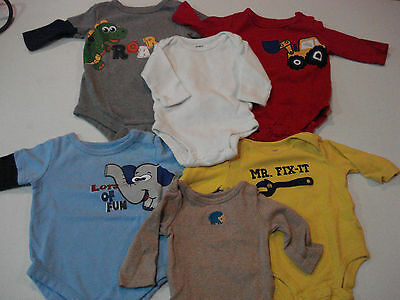 Baby Boys Size 0-3 Months Long Sleeve Shirts Lot of 6 Bodysuits