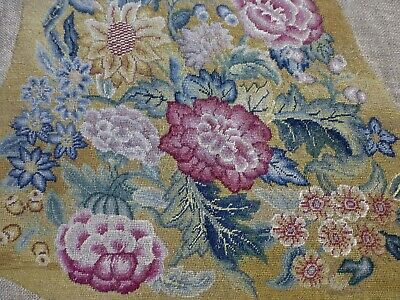 Antq Victorian Edwardian needlepoint chair seat cover English Country House (4)
