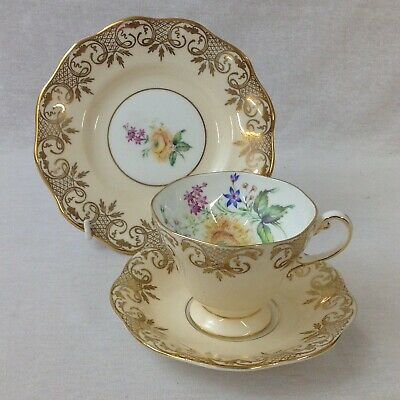 Foley China Tea Trio Pattern 4438 Vintage Cup, Saucer and Tea Plate Excellent