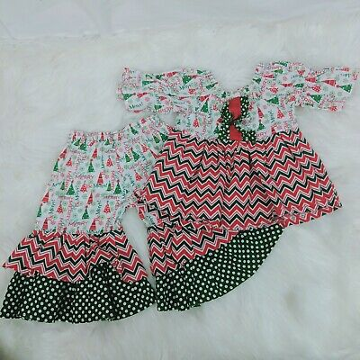 Handmade 0/6 Months Red Green Merry Christmas Ruffle Bell Sleeve Bottoms Outfit