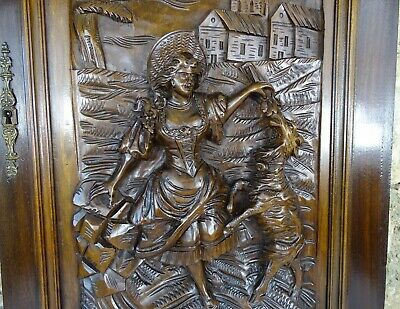 French Antique Architectural  Hand Carved Walnut Wood Door Panel - A Shepherdess