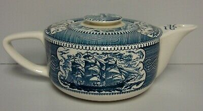 Royal USA CURRIER & IVES BLUE Teapot with Lid BEST