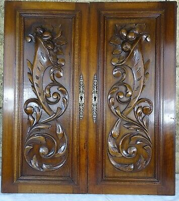 Pair of Antique French Carved Wood Cupboard Doors Wall Panels Solid Walnut