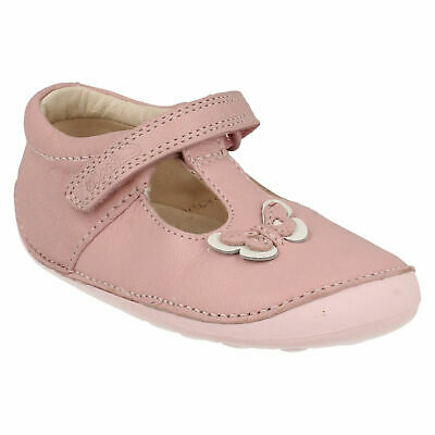 Girls Toddler Clarks Little Wow Hook & Loop Casual Summer Leather Shoes Size