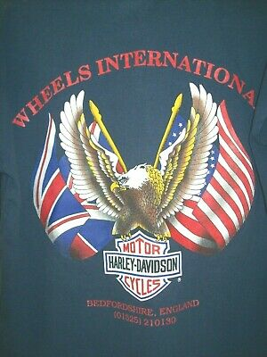 """**HARLEY DAVIDSON """"FORGED WITH PASSION / BEDFORDSHIRE ENGLAND **TEE SHIRT**(90s)"""