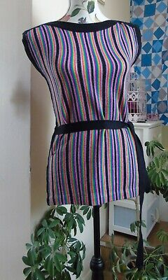 1970s Striped Sleeveless Belted Jumper Tabard ~ Black & Bright Stripes