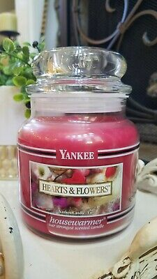 YANKEE CANDLE 14 5 oz HEARTS & FLOWERS Black Band Stripe Pink Discontinued