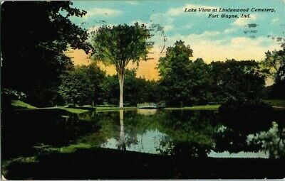 1911. LAKE VIEW AT LINDENWOOD CEMETERY. FORT WAYNE, IND. POSTCARD w3
