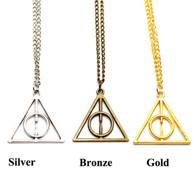 X3 GB Triangle Colliers Harry Potter Deathly Hallows Pendentif Vif D'or Chouette