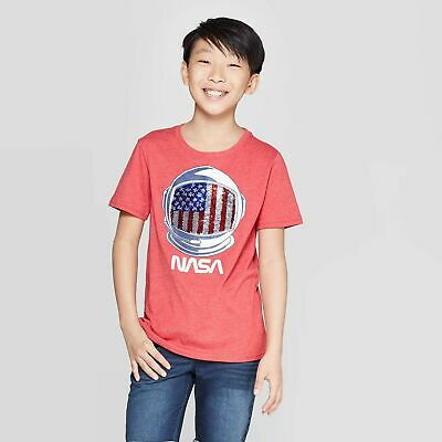 Boys' Americana NASA Flip Sequin Short Sleeve T-Shirt - Red