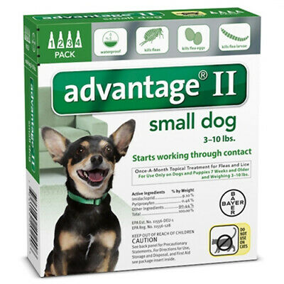 Advantage II (SMALL - Dogs under 10 lbs lbs)  4 Pack EPA APPROVED