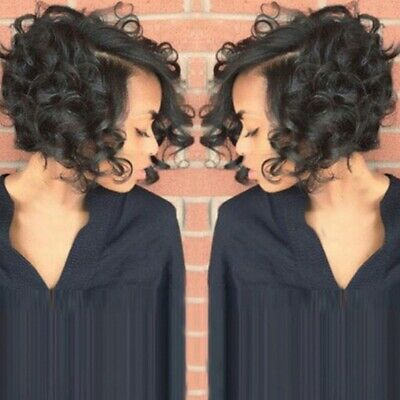 Fashion Womens Ladies Bob Wavy Hair Wigs Natural Brown Black Short Curly Wigs