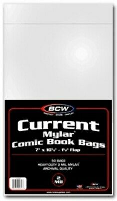 (100) Bcw Comic Book Current Modern Age 2 Mil Mylar Storage Bags