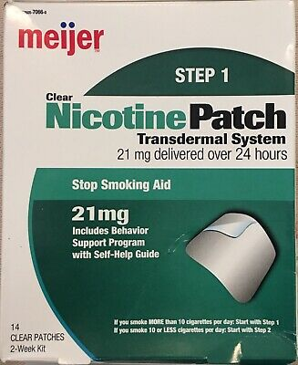 MEIJER NICOTINE 21mg TRANSDERMAL SYSTEM STEP ONE (1) 14 CLEAR PATCHES EXP 3/2021