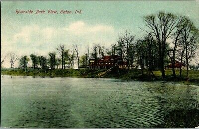 EARLY 1900'S. RIVERSIDE PARK VIEW. EATON, INDIANA. POSTCARD w8