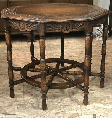 Octagon Table With Ship's Wheel Base