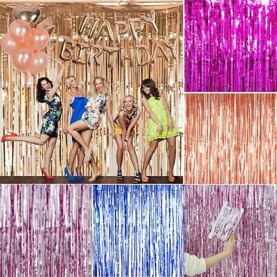 2M-3M Foil Fringe Tinsel Shimmer Curtain Door Wedding Birthday Party Baby Shower