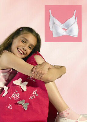"""Royce """"My First Bra"""" 2 Pair Pack Wire Free Cotton White/Pink Style 8000"""