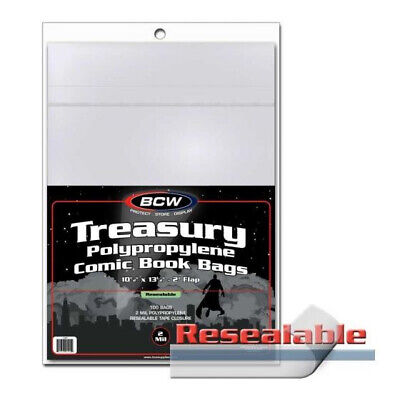 (300) Bcw Resealable Treasury Comic Book 2 Mil Soft Poly Storage Bag Holders