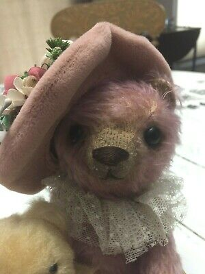 "ARTIST BEAR group 9.5"" Heidi STEINER'S MOLLY w Jan HAGARA stuffed bear friend"
