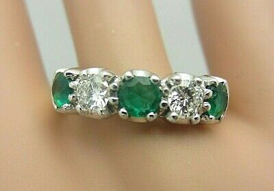 18K Yellow Gold Colombian Emerald and Diamond Ring 1.25 CT TW wedding band