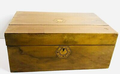 Antique Vintage Folding Wood Document Writing Box Lap Desk with Marquetry Design