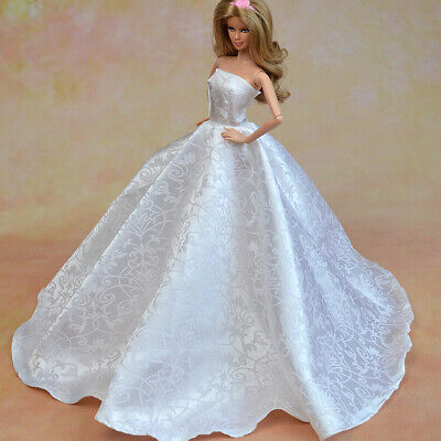 Barbie Doll Wedding Prom Gown Dress with Gift Hat Shoes and Bouquet