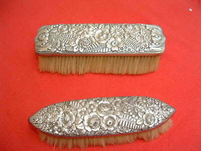 Antique Tiffany dresser / vanity set 2 BRUSHES - sterling silver repousse