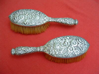 Antique Tiffany dresser / vanity set PAIR OF BRUSHES - sterling silver repousse