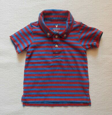 J Crew Crewcuts Baby Boy Size 3-6 Months Striped Polo Shirt Collar Red Blue