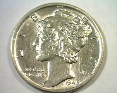1945 MERCURY DIME ABOUT UNCIRCULATED AU NICE ORIGINAL COIN BOBS COINS 99c SHIP