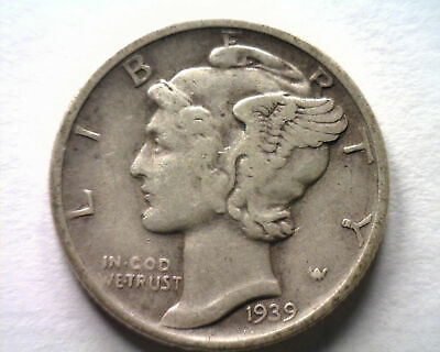 1939-D MERCURY DIME EXTRA FINE XF EXTREMELY FINE EF NICE ORIGINAL COIN 99c SHIP