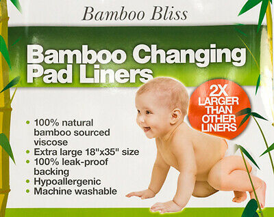 Bamboo Changing Pad Liners - Extra Large Hypoallergenic Leak Proof Biodegradable