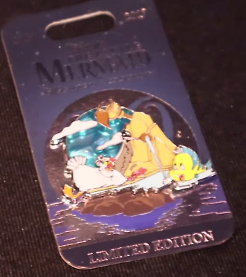 D23 Expo The Little Mermaid 30th Anniversary Scuttle and Flounder Pin LE 300