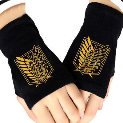 Anime Attack On Titan Scouting Legion Cosplay Knitted Gloves Fingerless Mittens