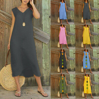 Women Summer Sleeveless Sexy V Neck Cotton Linen Long Maxi Beach Shirt Dress
