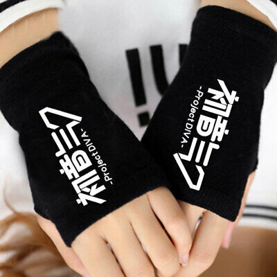Anime Hatsune Miku Character Cotton Knit Gloves Fingerless Mittens Cosplay Gift