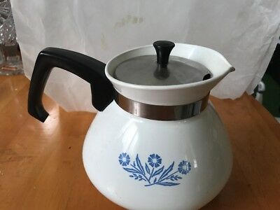 Vintage CORNING WARE 6 Cup TEA Pot Blue Cornflower With Lid
