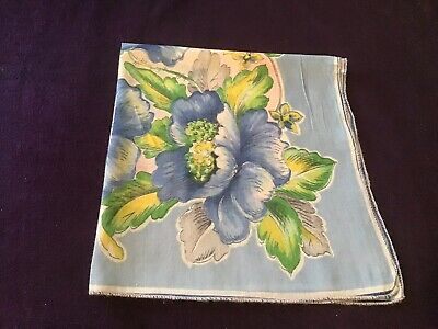 Vintage Blue Floral Green Yellow Pink Hankie