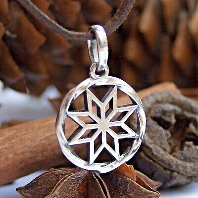 Norse Pagan Star SILVER Amulet Pendant Necklace Alatyr Womens Wiccan Jewelry