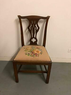 Antique Vintage Georgian Chair with embroidered seat