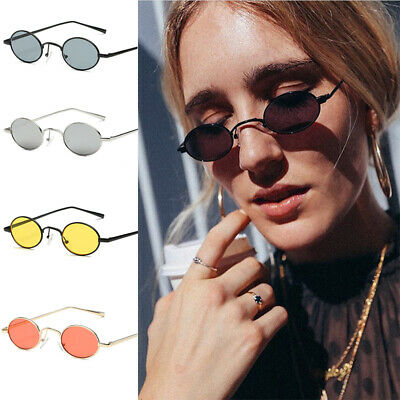 Small Oval Sunglasses Women Men Metal Frame Vintage Round Glasses Shades UV400