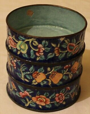 Vintage Antique Enamel Over Brass Asian Cups Nesting Fitted Bowls Set 3